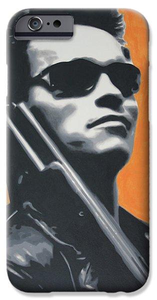 Ludzska Paintings iPhone Cases - Arnold Schwarzenegger 2013 iPhone Case by Luis Ludzska