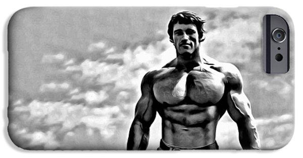 Oil Portrait Photographs iPhone Cases - Arnold Schwarzenegger iPhone Case by Florian Rodarte