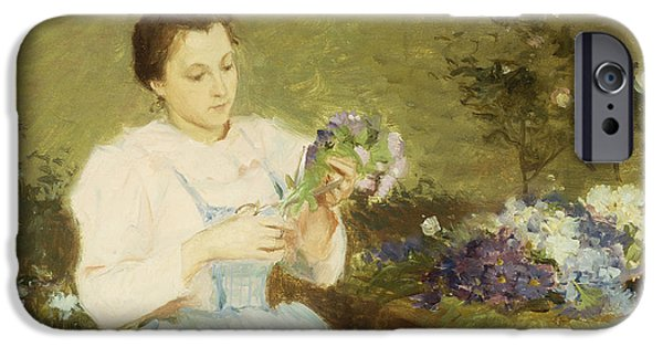 Loose Style iPhone Cases - Arranging flowers for a spring bouquet iPhone Case by Victor Gabriel Gilbert