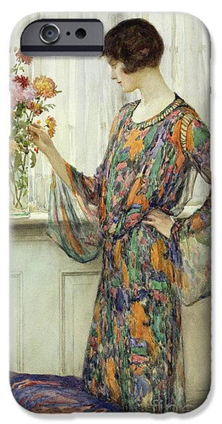 Net Paintings iPhone Cases - Arranging Flowers iPhone Case by William Henry Margetson