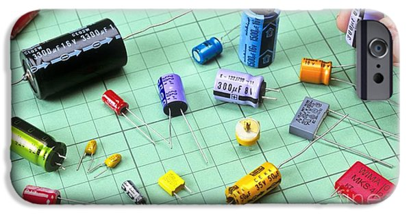 Electrical Component iPhone Cases - Array Of Capacitors iPhone Case by Martyn F. Chillmaid