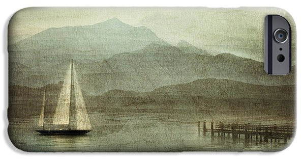 Sailboat Pyrography iPhone Cases - Arrival iPhone Case by manhART