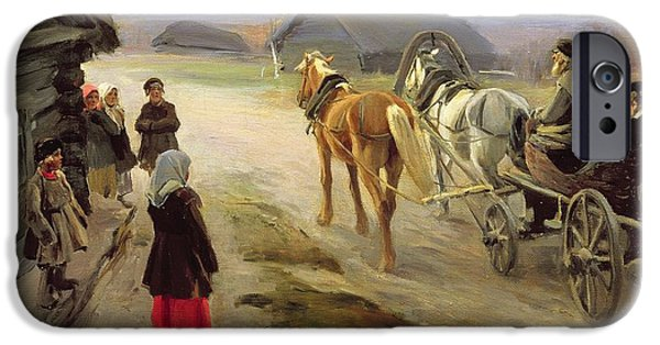 Horse And Cart iPhone Cases - Arrival Of A School-mistress In The Country, C.1908-14 Oil On Canvas iPhone Case by Alexei Steipanovitch Stepanov