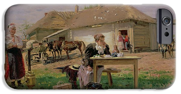 Shock iPhone Cases - Arrival Of A School Mistress In The Countryside, 1897 Oil On Canvas iPhone Case by Vladimir Egorovic Makovsky