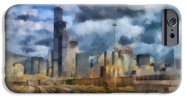 Willis Tower iPhone Cases - Arriving In Chicago On The Metra SWS Line 01 iPhone Case by Thomas Woolworth