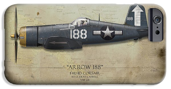 Carrier iPhone Cases - Arrow 188 F4U Corsair - Map Background iPhone Case by Craig Tinder