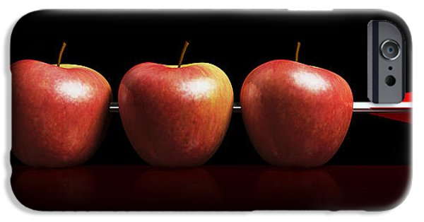 Business Digital Art iPhone Cases - Arrow three apples a hit in black iPhone Case by Bruno Haver