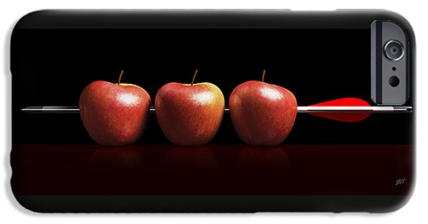 Business Digital iPhone Cases - Arrow three apples a hit in black iPhone Case by Bruno Haver
