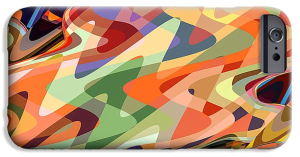 Electronic Paintings iPhone Cases - Art abstract geometric pattern 27 iPhone Case by Lanjee Chee
