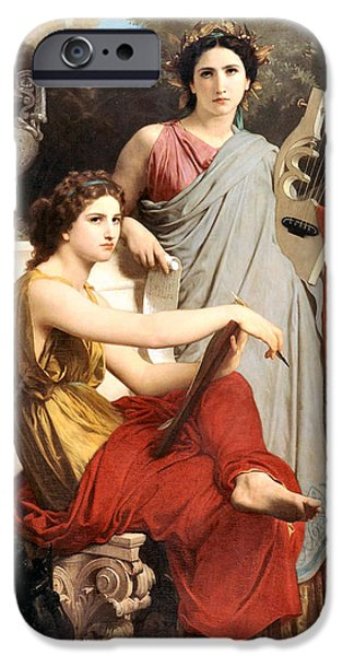 Lute Digital Art iPhone Cases - Art and Literature iPhone Case by William Bouguereau