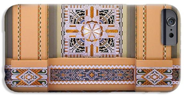 Nebraska iPhone Cases - Art Deco Ceiling Decoration iPhone Case by Nikolyn McDonald