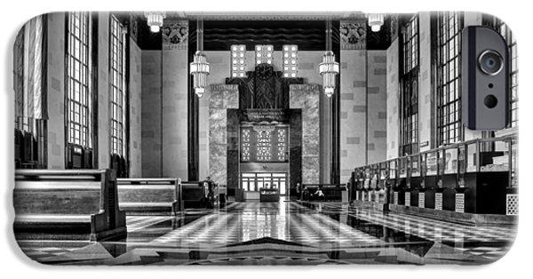 Nebraska iPhone Cases - Art Deco Great Hall #2 - bw iPhone Case by Nikolyn McDonald