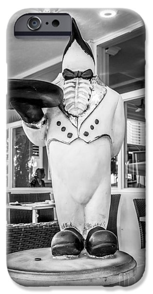 Waiter Photographs iPhone Cases - Art Deco Penguin Waiter South Beach Miami - Black and White iPhone Case by Ian Monk