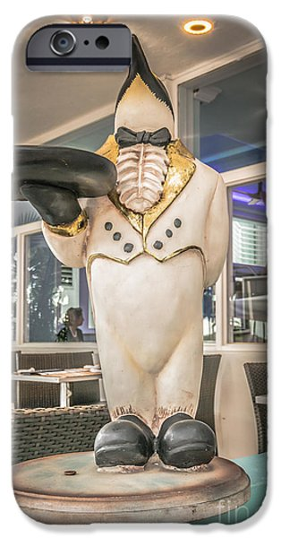Waiter Photographs iPhone Cases - Art Deco Penguin Waiter South Beach Miami - HDR Style iPhone Case by Ian Monk