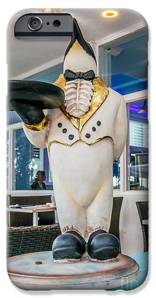 Waiter Photographs iPhone Cases - Art Deco Penguin Waiter South Beach Miami iPhone Case by Ian Monk