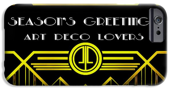 Thanksgiving Digital iPhone Cases - Art Deco - Seasons Greetings iPhone Case by Chuck Staley