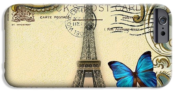 Fantasy Realistic Still Life iPhone Cases - Art Deco swirls butterfly Eiffel Tower Paris iPhone Case by Cranberry Sky