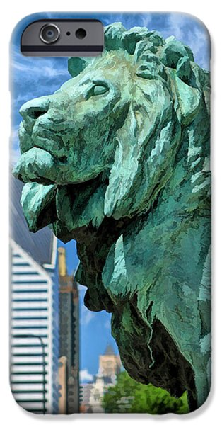 Chicago Paintings iPhone Cases - Art Institute in Chicago Lion iPhone Case by Christopher Arndt