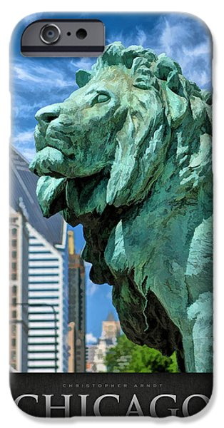 Sears Tower Paintings iPhone Cases - Art Institute in Chicago Lion Poster iPhone Case by Christopher Arndt