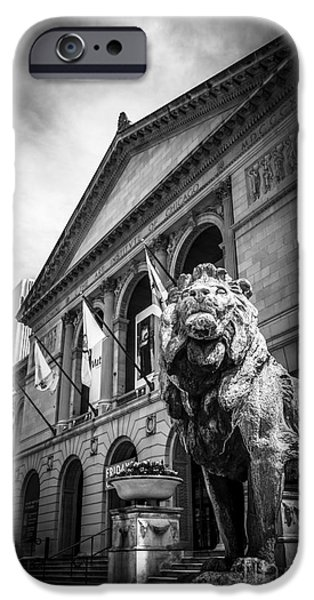 Lion Photographs iPhone Cases - Art Institute of Chicago Lion Statue in Black and White iPhone Case by Paul Velgos