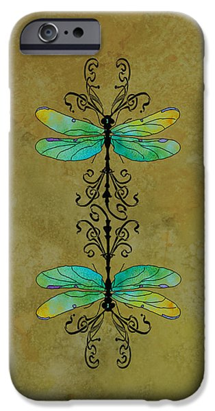 Dragonfly iPhone Cases - Art Nouveau Damselflies iPhone Case by Jenny Armitage