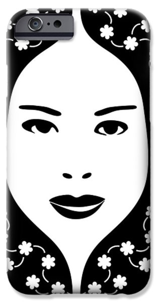 Chinese Woman iPhone Cases - Art Nouveau Design 456 iPhone Case by Frank Tschakert