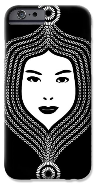 Indian Ink iPhone Cases - Art Nouveau Portrait 457 iPhone Case by Frank Tschakert