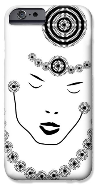 Large Drawings iPhone Cases - Art Nouveau Portrait iPhone Case by Frank Tschakert