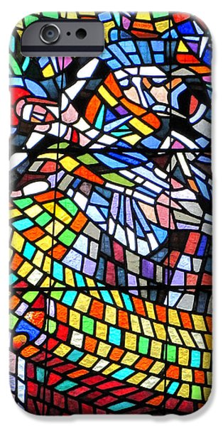 Angel Blues iPhone Cases - Art Nouveau Stained glass windows SS Vitus Cathedral Prague iPhone Case by Christine Till