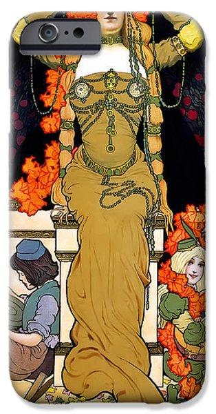 Greek Goddesses iPhone Cases - Art Nouveau Woman  1903 iPhone Case by Daniel Hagerman