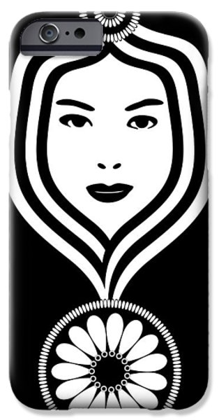 Feminine Drawings iPhone Cases - Art Nouveau Woman iPhone Case by Frank Tschakert