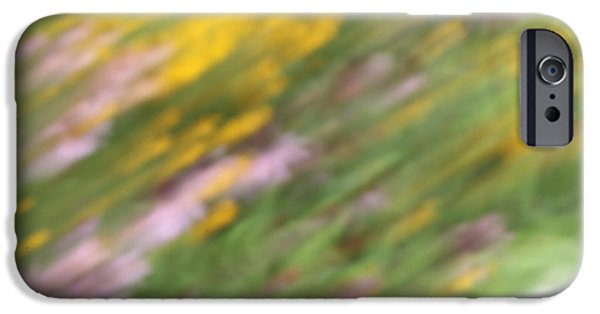 Abstracted Coneflowers Mixed Media iPhone Cases - Art of Floral Movement Abstract - Dancing Healing flowers - Echinacea and Yellow Coneflowers iPhone Case by Alex Khomoutov
