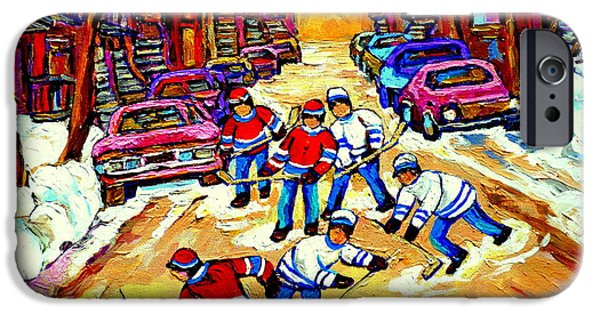 Hockey Paintings iPhone Cases - Art Of Montreal Hockey Street Scene After School Winter Game Painting By Carole Spandau iPhone Case by Carole Spandau