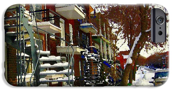 Snowy Day iPhone Cases - Art Of Winter Tree And Snowy Staircase Scene Montreal Streets Colors Of Quebec Carole Spandau iPhone Case by Carole Spandau