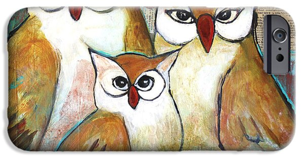 Recently Sold -  - Birds iPhone Cases - Art Owl Family Portrait iPhone Case by Blenda Studio