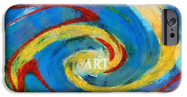 Concept Paintings iPhone Cases - Art Swirl iPhone Case by Dan Sproul