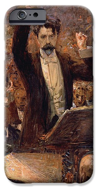 20th Drawings iPhone Cases - Arthur Nikisch Conducting a Concert at the Gewandhaus in Leipzig iPhone Case by Robert Sterl