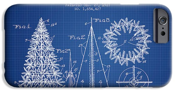 Christmas iPhone Cases - Artifical Christmas Tree Patent from 1927 - Blueprint iPhone Case by Aged Pixel