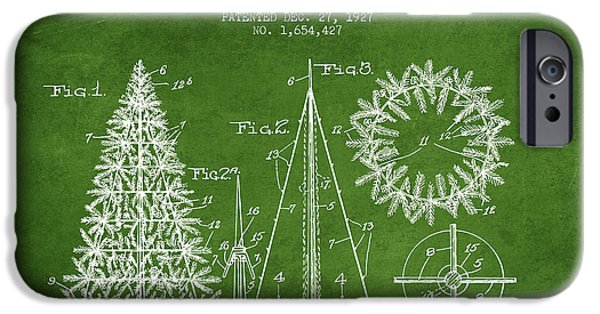 Christmas iPhone Cases - Artifical Christmas Tree Patent from 1927 - Green iPhone Case by Aged Pixel
