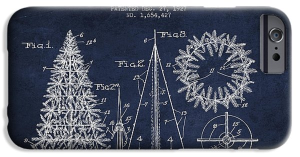 Christmas iPhone Cases - Artifical Christmas Tree Patent from 1927 - Navy Blue iPhone Case by Aged Pixel