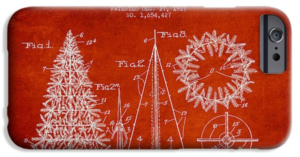 Christmas iPhone Cases - Artifical Christmas Tree Patent from 1927 - Red iPhone Case by Aged Pixel