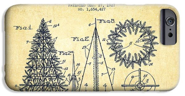 Christmas Digital Art iPhone Cases - Artifical Christmas Tree Patent from 1927 - Vintage iPhone Case by Aged Pixel