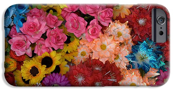 Artificial Flowers iPhone Cases - Artificial Flowers At An Acapulco Market iPhone Case by Ron Sanford