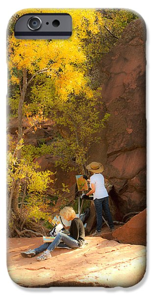 Oak Creek iPhone Cases - Artists at Work iPhone Case by Bj Lewis