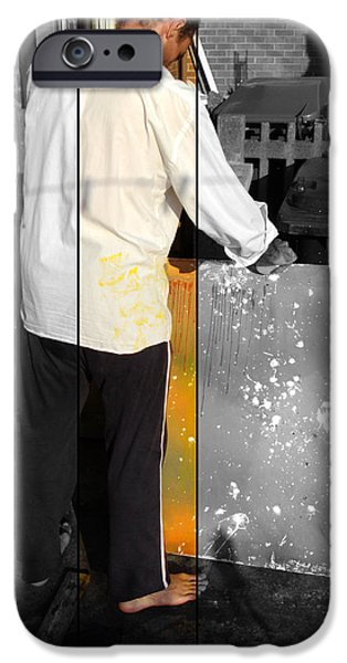 Best Sellers -  - Painter Photo Photographs iPhone Cases - Artist At Work Part Two iPhone Case by Sir Josef  Putsche