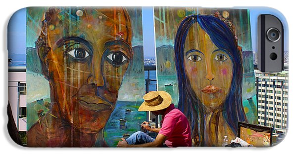 Painter Photographs iPhone Cases - Artist at Work Valparaiso Chile iPhone Case by Kurt Van Wagner
