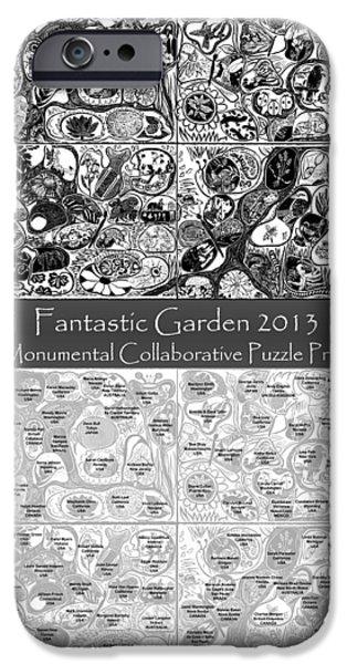 Printmaking Reliefs iPhone Cases - Artist Map Fantastic Garden 2013 iPhone Case by Maria Arango Diener