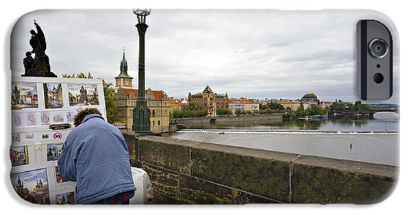 River View iPhone Cases - Artist on the Charles Bridge - Prague iPhone Case by Madeline Ellis