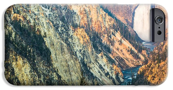 Cliffs iPhone Cases - Artist Point - Yellowstone Park Horizontal iPhone Case by Andres Leon
