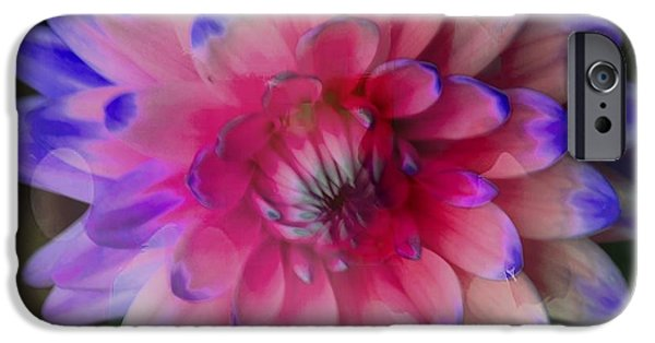 Blue Abstracts iPhone Cases - Artistic Dahlia iPhone Case by Kathleen Struckle